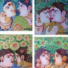 Painting Set by Narahari Bhawandla, Decorative, Decorative Painting, Acrylic on Canvas, Brown color