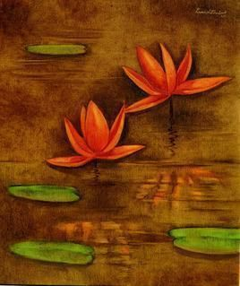 Lotus Pond by Ramesh Terdal, Decorative, Decorative , Oil on Canvas, Brown color