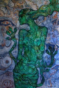 Green Woman by Rupchand Kundu, Conceptual, Conceptual Painting, Acrylic on Canvas, Green color