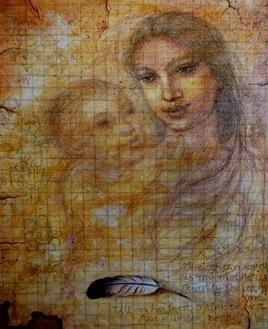 Mother Touch by Rupchand Kundu, Conceptual, Conceptual Painting, Acrylic on Canvas, Brown color