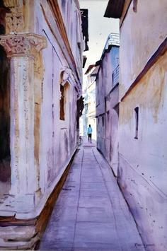 Alley by Ramesh Jhawar, , , Pink color