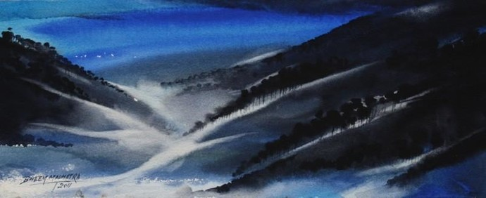 Blue Scape by Bheem Malhotra, Impressionism, Impressionism Painting, Watercolor on Paper, Blue color