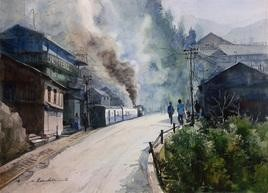 Hill Station by Ranabir Saha, Painting, Watercolor on Paper, Gray color
