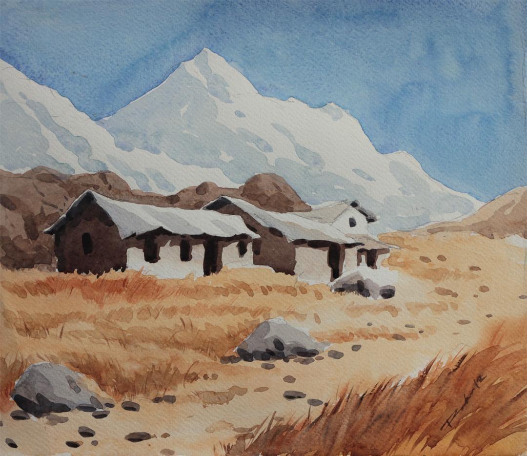 Hills by Raktim Chatterjee, Painting, Watercolor on Paper, Brown color