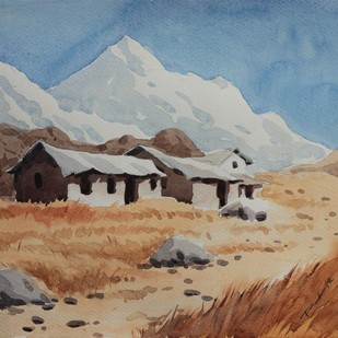 Hills by Raktim Chatterjee, Painting, Watercolor on Paper, Brown color