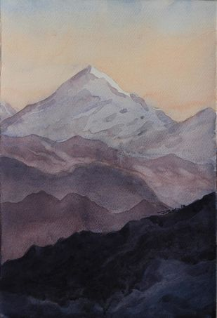 Kanchandjongha by Raktim Chatterjee, Painting, Watercolor on Paper, Gray color