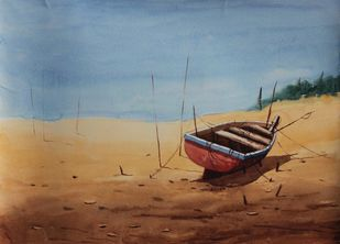 Rest 3 by Raktim Chatterjee, Painting, Watercolor on Paper, Brown color