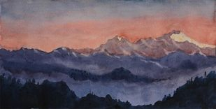 Sunrise by Raktim Chatterjee, Painting, Watercolor on Paper, Blue color