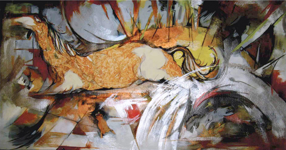 Energy by Abhijit Pawaskar, Expressionism Painting, Mixed Media on Paper, Brown color