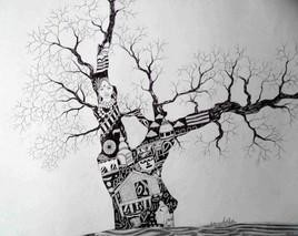Culture by Ashis Chakraborty, Painting, Ink on Paper, Gray color