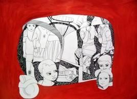 Journey 2 by Ashis Chakraborty, Painting, Ink on Paper, Red color