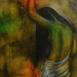 Nude 2 by Ramesh Terdal, Decorative, Decorative , Oil on Canvas, Green color