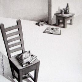 Kursi 18 by Shrikant Kolhe, Realism, Realism Painting, Acrylic on Canvas, Gray color