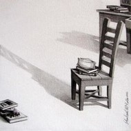 Kursi - 22 by Shrikant Kolhe, Realism, Realism Painting, Acrylic on Canvas, Gray color