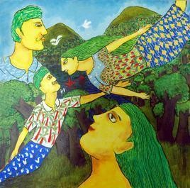 Romance In The Forest I by Sambuddha Duttagupta, Conceptual, Conceptual Painting, Acrylic on Canvas, Green color