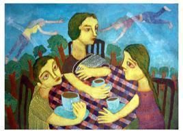 Cafe Talk III by Sambuddha Duttagupta, Painting, Acrylic on Paper, Cyan color