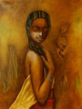 Tribal Girl 25 by Ramesh Terdal, Decorative, Decorative , Oil on Canvas, Brown color