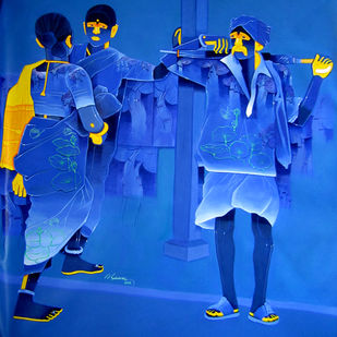 Untitled 447 by Srinivas Tailor, Painting, Acrylic on Canvas, Blue color
