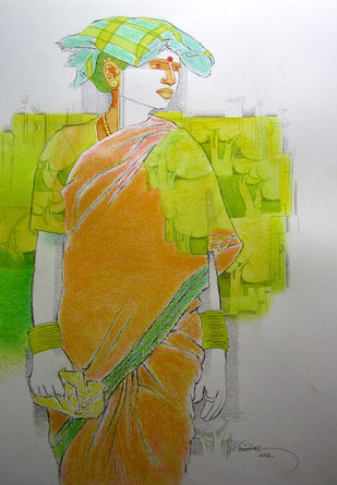 Untitled 396 by Srinivas Tailor, Painting, Mixed Media on Paper, Gray color