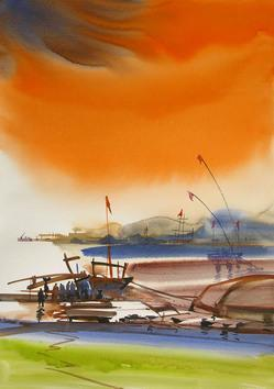 Ocean Moods by Sunil Kale, , , Orange color