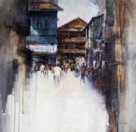 Market by Shailesh Meshram, Painting, Acrylic on Canvas, Gray color