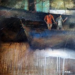 On Work by Shailesh Meshram, Painting, Acrylic on Canvas, Gray color