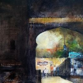 Gate Together by Shailesh Meshram, Painting, Acrylic on Canvas, Gray color