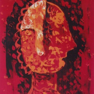 Untitled by Rakhee Kumari, Naive, Naive Serigraph, Serigraph on Paper, Red color