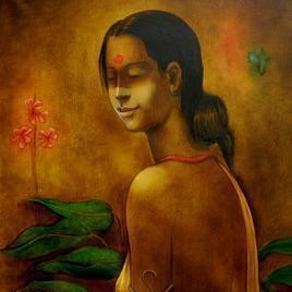 Tribal Girl 28 by Ramesh Terdal, Decorative, Decorative , Oil on Canvas, Brown color