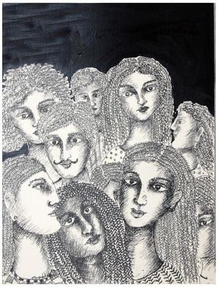 Faces III by Sambuddha Duttagupta, Painting, Mixed Media on Paper, Gray color