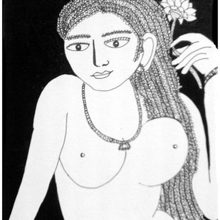 Lady With Flowers by Sambuddha Duttagupta, Painting, Mixed Media on Paper, Gray color