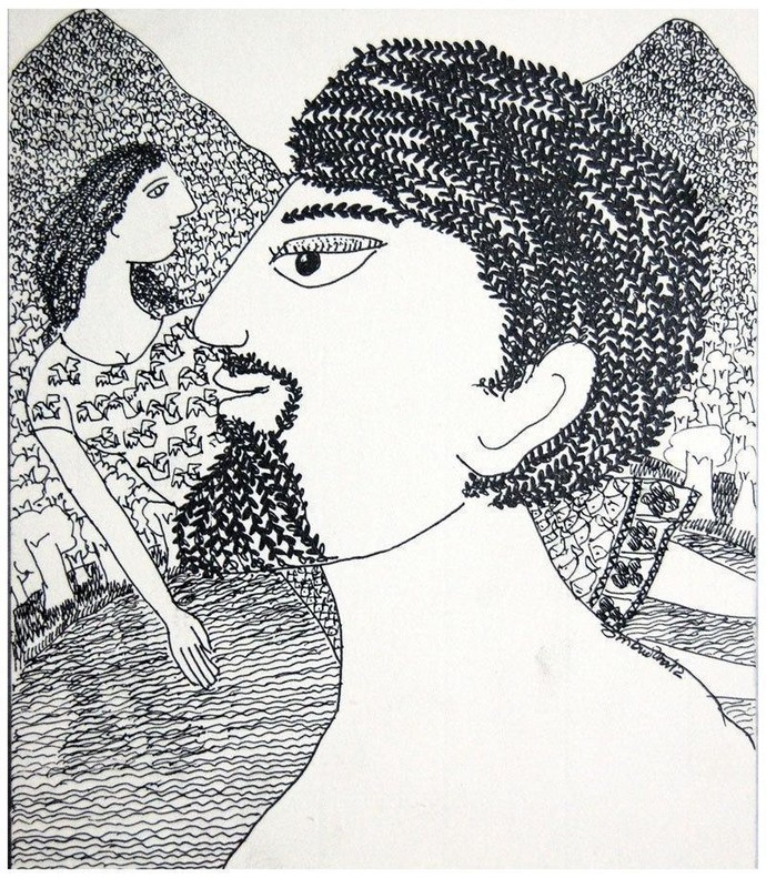 Romance Into The Forest III by Sambuddha Duttagupta, Painting, Pen & Ink on Paper, Gray color