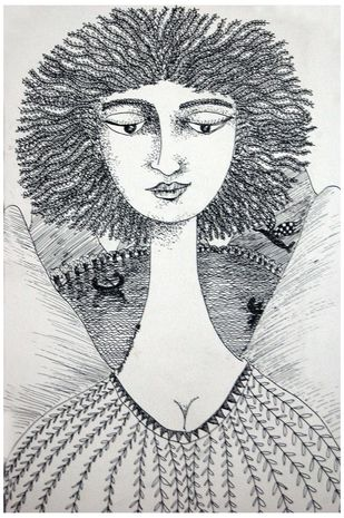 She & The Landscape XIII by Sambuddha Duttagupta, Painting, Pen & Ink on Paper, Gray color