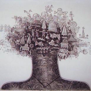 Nature by Rakhee Kumari, Illustration, Illustration Printmaking, Etching on Paper, Gray color