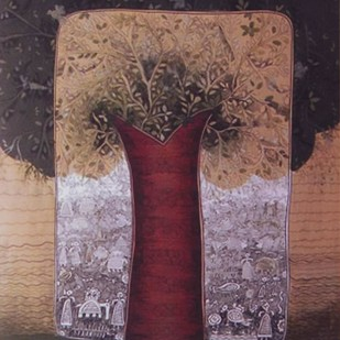 Life by Rakhee Kumari, Illustration, Illustration Painting, Mixed Media on Canvas, Brown color