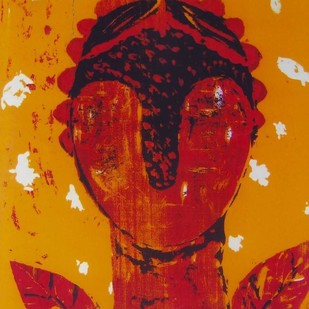 Try To Fly by Rakhee Kumari, Naive, Naive Serigraph, Serigraph on Paper, Orange color
