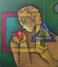Adam 1 by Satyajeet Shinde, Conceptual, Conceptual Painting, Acrylic on Canvas, Brown color
