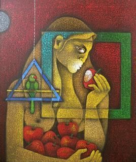 Eve 1 by Satyajeet Shinde, Conceptual, Conceptual Painting, Acrylic on Canvas, Brown color