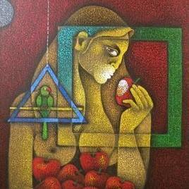 Eve 1 by Satyajeet Shinde, Conceptual, Conceptual Painting, Acrylic on Canvas, Brown color