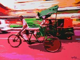 Cycle Rickshaw 3 by Jayesh Sachdev, , , Brown color