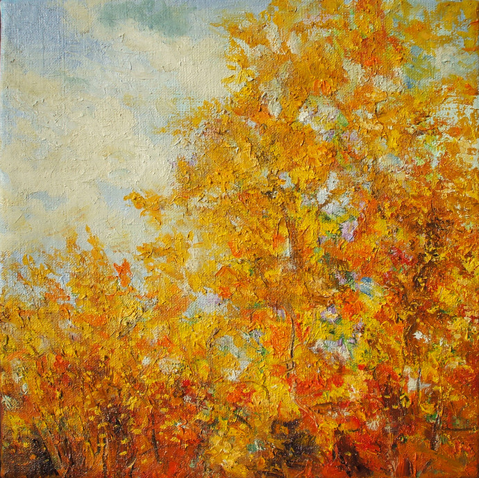 Autumn-II by Animesh Roy, Impressionism, Impressionism , Oil on Linen, Brown color