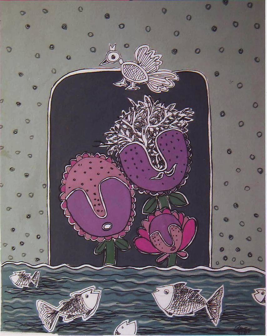 Bird And Fish by Rakhee Kumari, Traditional Painting, Mixed Media on Paper, Gray color