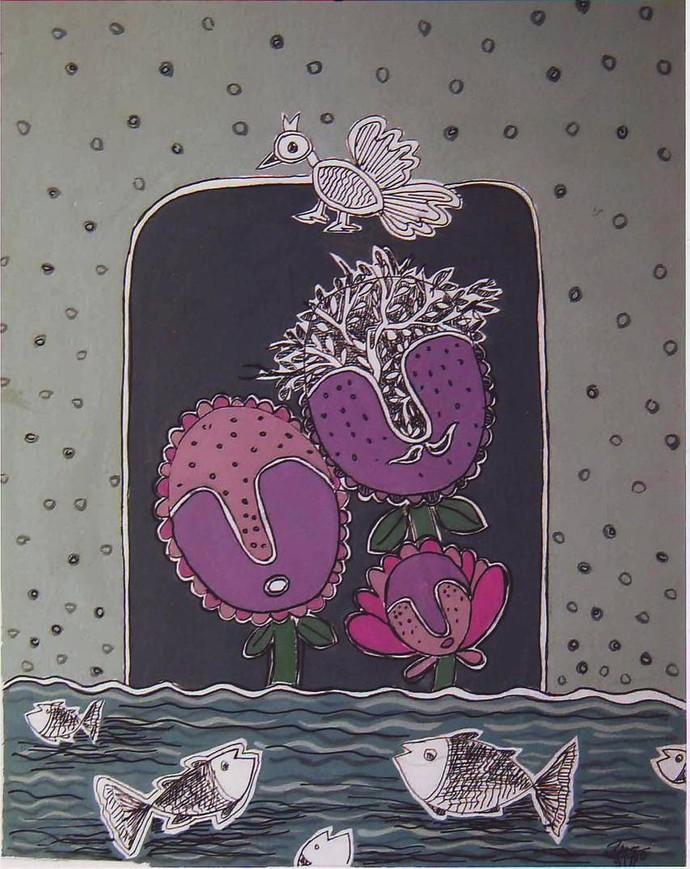 Bird And Fish by Rakhee Kumari, Traditional Painting, Mixed Media on Paper, Gray color