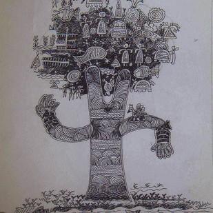 Dancing Tree by Rakhee Kumari, Illustration, Illustration Drawing, Mixed Media on Paper, Gray color