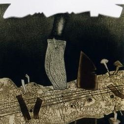 Assassination by Anup Mitra, Painting, Etching on Paper, Gray color