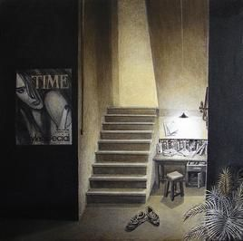 Life Corner 30-09 by Shrikant Kolhe, Realism, Realism Painting, Mixed Media on Canvas, Gray color