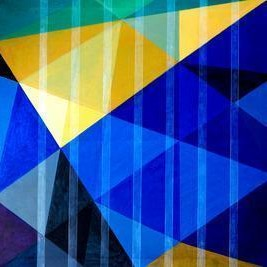 Space XVI by S K Sahni, Geometrical, Geometrical Painting, Acrylic on Canvas, Blue color