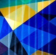 Space XVI by S K Sahni, Geometrical, Geometrical Painting, Acrylic on Canvas, Blue color