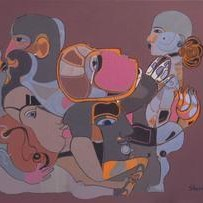 Untitled by Shambhu Prasad Reddy, Conceptual, Conceptual Painting, Acrylic on Canvas, Brown color