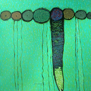 Untitled by Sandeep Ghule, Decorative, Decorative Painting, Mixed Media on Paper, Green color